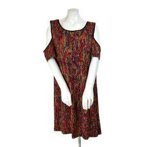 ECI Cold Shoulder Multicolor Aztec A-Line Dress